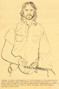 Drawing of Peter Mahone by Diana Tuminia, Ocean Beach 1974.