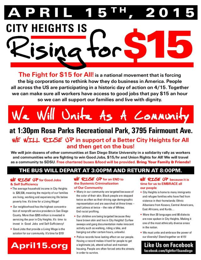 The Fight for $15 for All! is a national movement that is forcing the big corporations to rethink how they do business in America. People all across the US are participating in a historic day of action on 4/15.