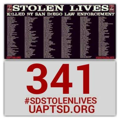 Update uaptsd.org is up to 341 documented killings by every branch of law enforcement in San Diego County. Just recently, the coroners reported to the family of #LamontezJones killed on 10/20/15 is the 2014th death. Still digging, still demanding for transparency, accountability, and Justice#SDSTOLENLIVES